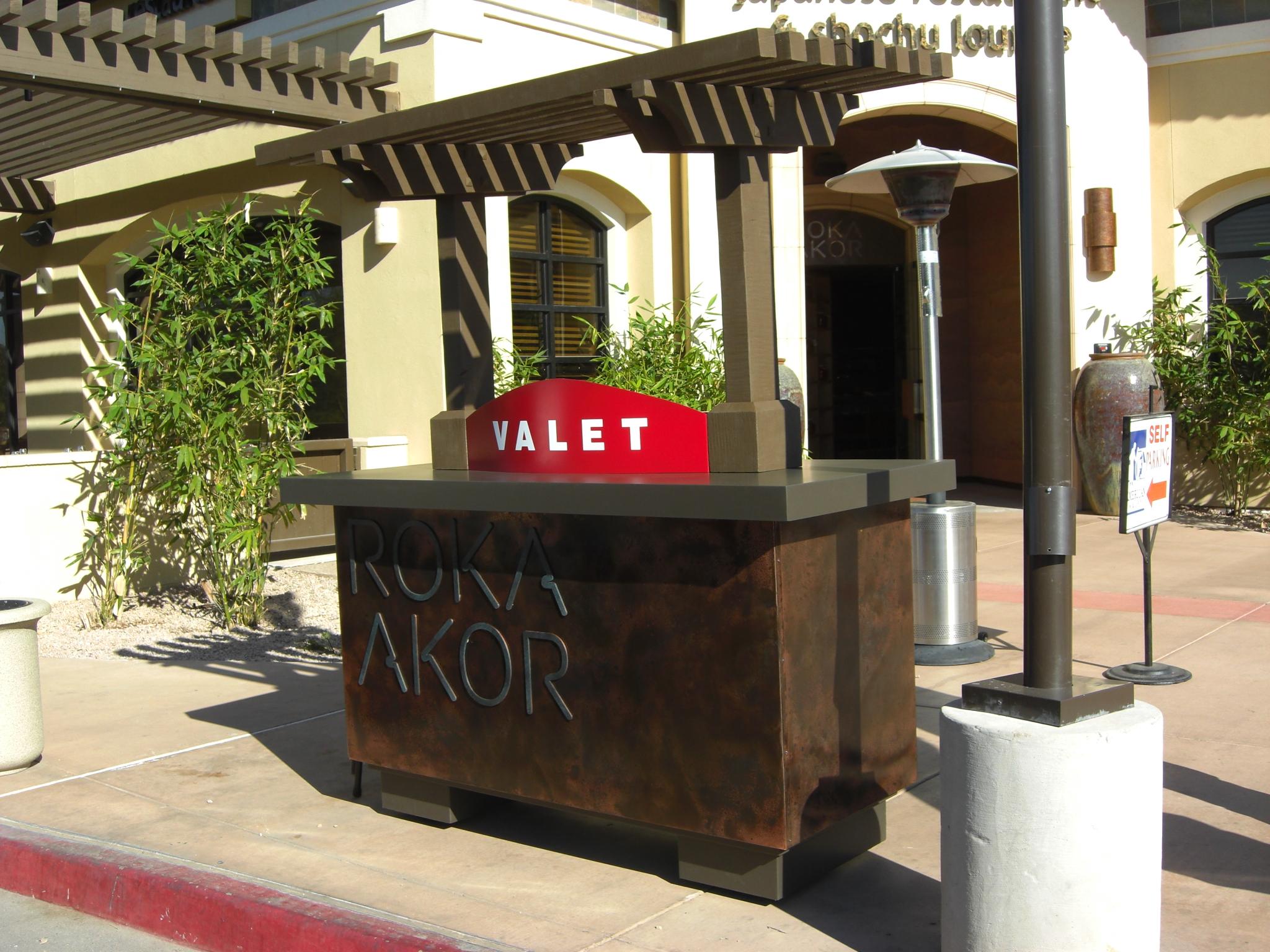 Copper clad valet podium for Roka Akor in Scottsdale, Arizona.