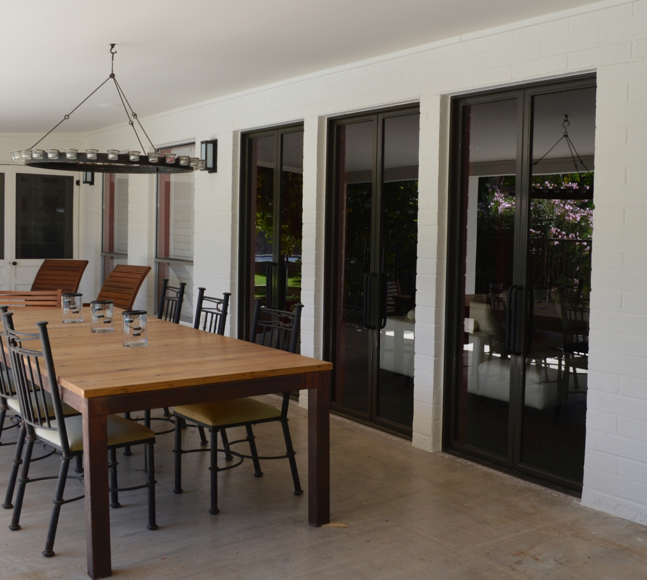 Custom patio doors to replace windows.