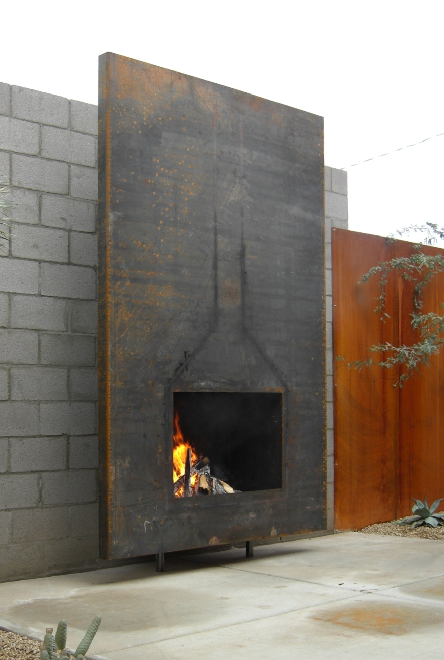 Raw steel fireplace for Bates Interiors.